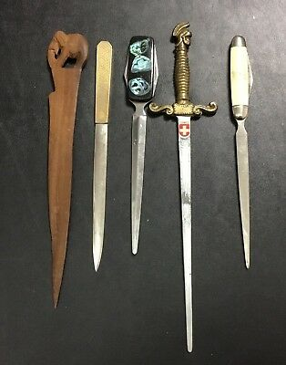 Vintage Mix Lot (5) Open Letter Opener Brass Bronze Sword TOOL ARMY KENYA WOOD