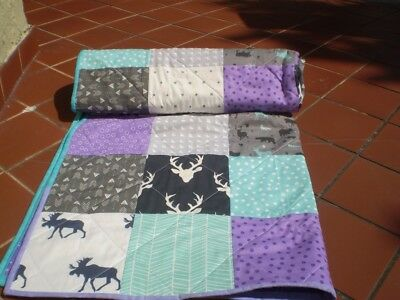 Handmade Baby quilt,woodland,rustic,baby girl crib quilt,toddler,Woodsy in Lilac
