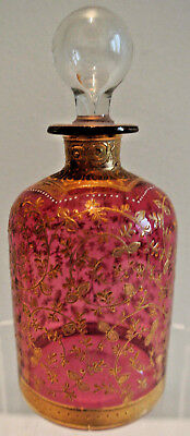 Cranberry Glass Enameled And Gilded Perfume Bottle - Circa 1870