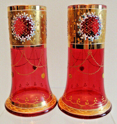 Pair Of Cranberry Glass Enameled And Gilded Vases - Circa 1890