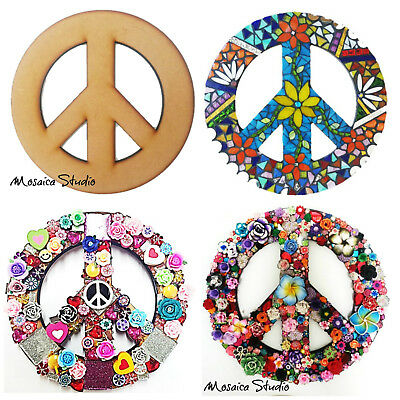 Peace Sign - Wooden Base - 295x295mm