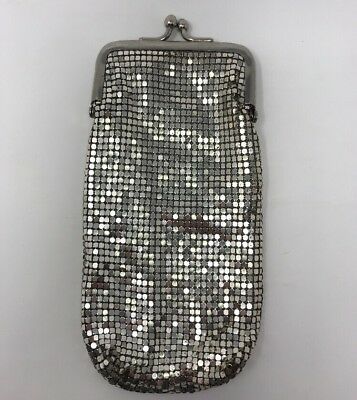 Vintage Whiting and Davis Silver Mesh Cigarette Case Holder Made USA Kiss Clasp