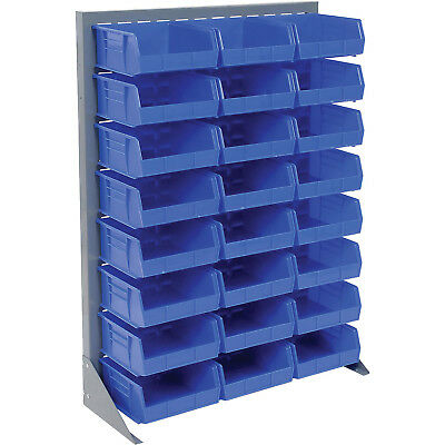 """Louvered Bin Rack With (24) Blue Stacking Bins, 35""""W x 15""""D x 50""""H, Lot of 1"""