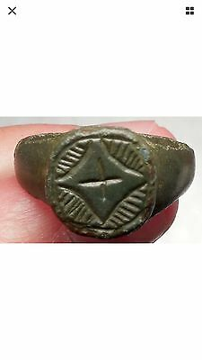 Ancient Medieval Byzantine Era Christian Cross Ring Artifact 1200-1400 A.D.