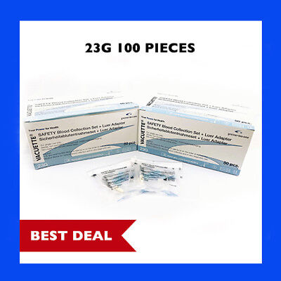 """23g Greiner Butterfly Safety Needle w/ Adapter and 12"""" Tube, 2 Box Set Special"""