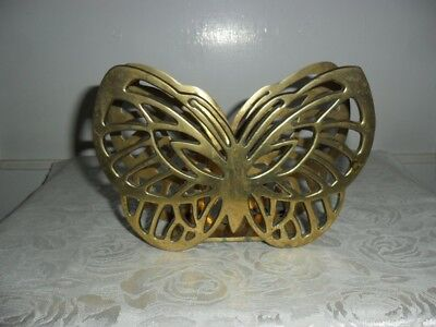"Vintage Solid Brass Butterfly Letter Holder Desk Organizer - Very Heavy! 7"" Wide"