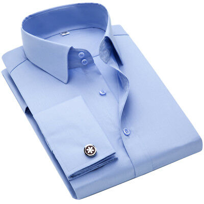 New Men's Classic French Convertible Cuff Solid Dress Long Sleeves Shirts 6433