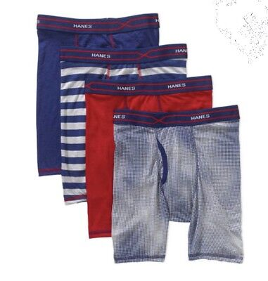 NEW Boys Hanes X-Temp Active Cool Boxer Briefs Black Blue Gray Pack of 4 XL