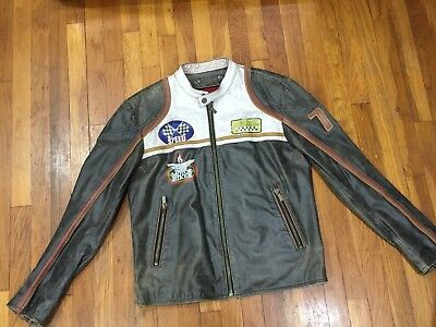 RARE! CAFE RACER LEATHER JACKET MOTO SPEED DISTRESSED HARLEY Triumph Retro chop