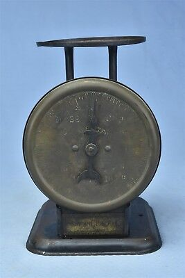 Antique BRASS FACE AMERICAN CUTLERY FAMILY SCALE 24 LBS WARRANTED SHABBY #04798