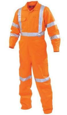 Size 97R WORKHORSE Classic Long Sleeve Overalls - ORANGE with REFLECTIVE TAPE