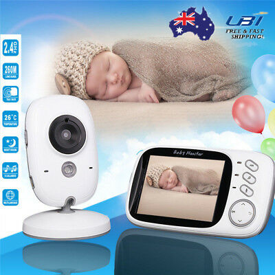 Wireless 2.4G Digital 3.2'' LCD Baby Monitor Cam Camera Audio Video Night Vision