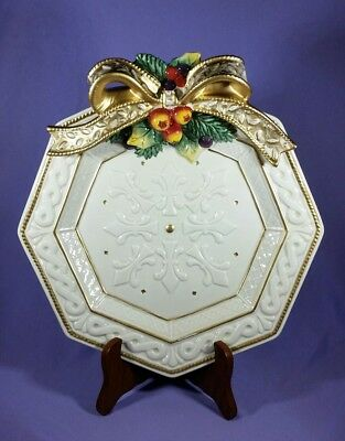 Fitz and Floyd Christmas Plate Snowy Woods Ivory Gold Bow Holiday Serving