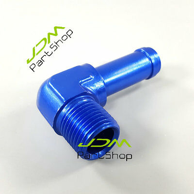 """90 Degree 1/2"""" NPT To AN10 Barb Adapter Adaptor Fitting Aluminum Blue 7057"""