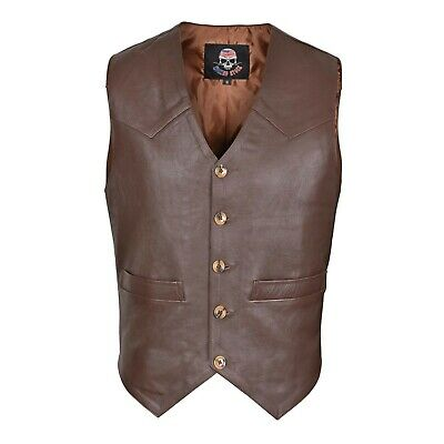 WICKED STOCK Brown Men's Premium Leather Vest Western Style V-117