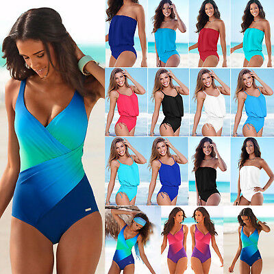 Women's One Piece Swimwear Monokini Swimsuit Push Up Bathing Bikini Beachwear