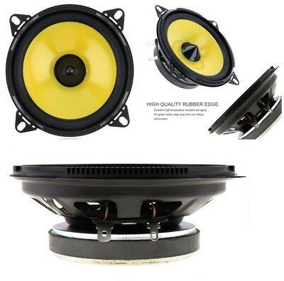2pcs 4 inch 60W Coaxial Car Audio Speakers Stereo Full Range Frequency Yellow