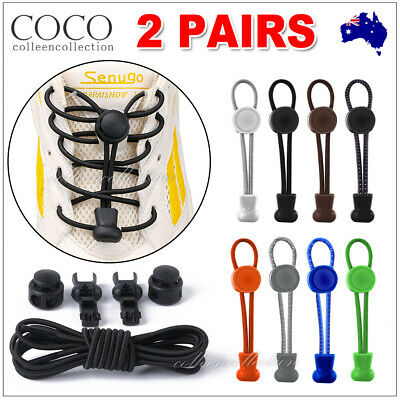 2 Pairs Elastic No Tie Locking Round Shoelaces Shoe Laces For Dults Kids Sneaker