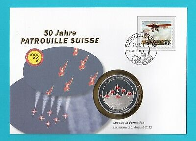 Looping In Formation  ** Numisbrief Ch  50 Jahre Patrouille Suisse Mit Medaille