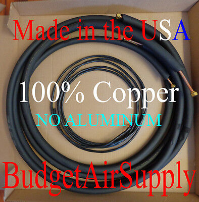 "3/8 x 5/8 x 25ft-(1/2"" Insulated) 100% Copper Ductless mini split Line set+wire"