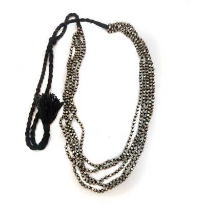 Antique Old Silver Beads Vintage Look Black Thread Adjustable Necklace For GIFT