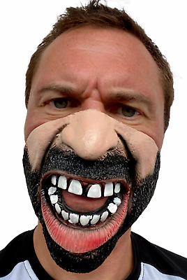 Angry Man Funny Mask Half Face Black Beard Halloween Crazy Costume Accessory