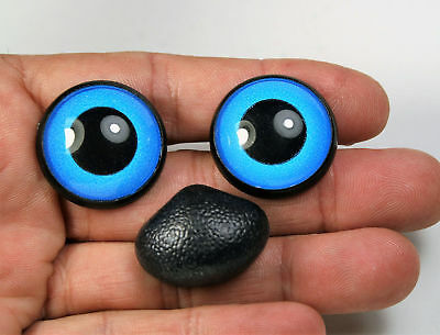 Blue safety eyes and nose 16 mm stuffed animal toys amigurumi crafts crochet