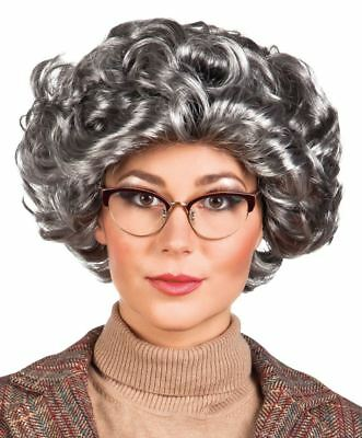 Adult Grey Queen Old Lady Granny Curly Wig Fancy Dress Costume Accessory