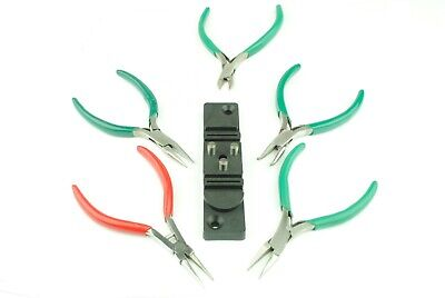 Set of 5 Smooth Jaw Jewellery Pliers, Round, Flat Nose etc & Wire Bender. J1318