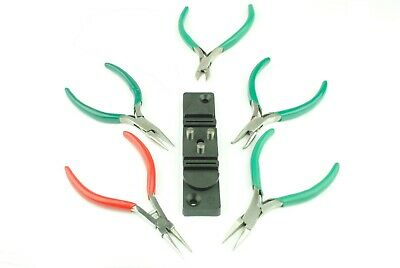 Set of 6 Smooth Jaw Jewellery Pliers, Round, Flat Nose etc & Wire Bender. J1318