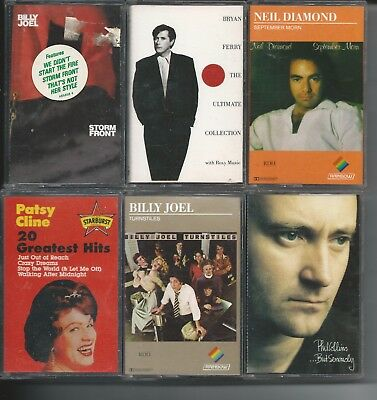 Cassette Tapes 15 Mixed Music 80's & 60's artists Billy Joel, Inc  Storage Case