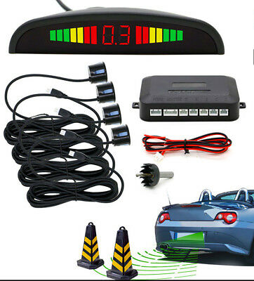 New Car Reverse Parking Sensor Rear 4 Sendors LCD Display Audio Buzzer Alarm Kit