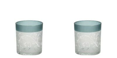 Yankee Candle Set of Two Frosted Green Teal Vine Design Votive Holder