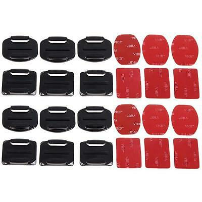 Durable 12pcs Camera Helmet Flat Curved Adhesive Mount For Gopro Hero 1/2/3+ FA