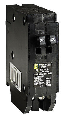 Homeline 20 Amp Single Pole Tandem Circuit Breaker, Square, HOMT2020CP