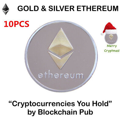 10pc Silver Ethereum Crypto Collectible Coin Gold Plated Commemorative Christmas