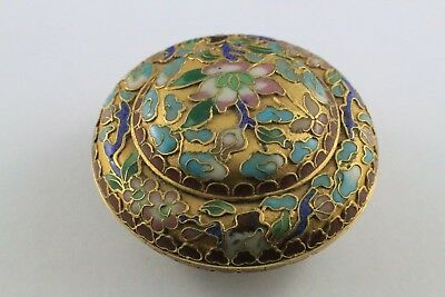 Antique Chinese Openwork Cloisonne Circular Small Trinket Box