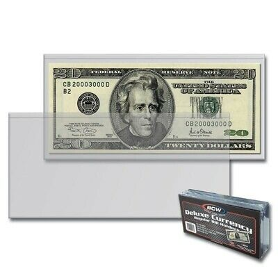 50 BCW Regular Currency Banknotes Sleeves Modern Size Notes Holder Semi Rigid
