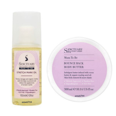 Sanctuary Spa MUM TO BE Bounce Back Body Butter 300ml & Stretch Mark Oil 150ml