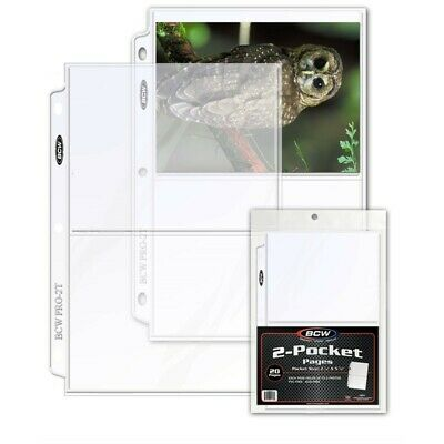 2 Pocket 5 X 7 Photos / Cards 3 Rings Album Pages BCW PVC Free 20 Postcard Clear