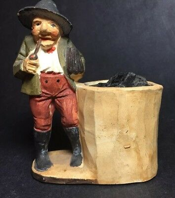 Vintage  Hand Carved & Painted Wooden Figurine -Man w/Barrel Folk Art
