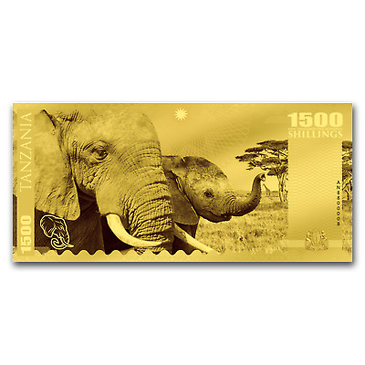 2018 Tanzania 1 gram Gold Big Five Elephant Foil Gold Note - SKU#159750