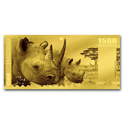 2018 Tanzania 1 gram Gold Big Five Rhino Foil Gold Note - SKU#159287