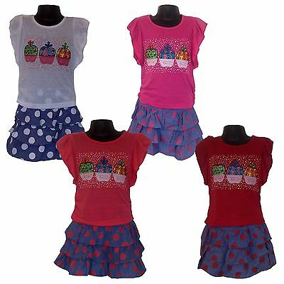 New Girls Outfit T-shirt Top Shirt and Skirt 2 Pieces Set 2-8yrs,Tunic,Dress #63
