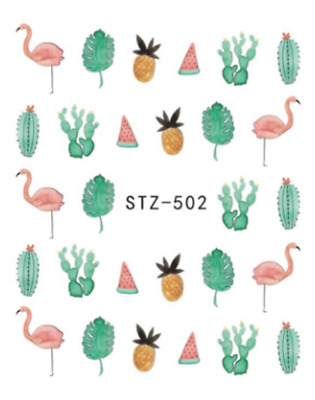Nail Art Water Decals Transfers Stickers Summer Palm Trees Flamingo Catcus (502)