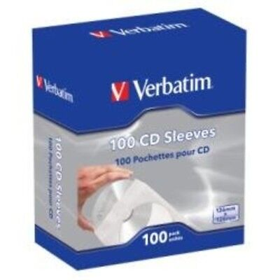 Verbatim CD/DVD Paper Sleeves with Clear Window – 100 Pack Top Quality
