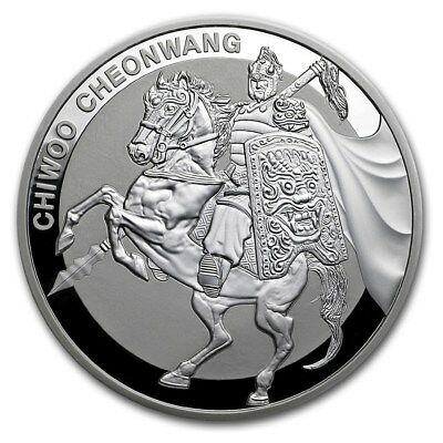 2017 South Korea Chiwoo Cheonwang Series 1 oz Silver Proof Coin In Assay Card