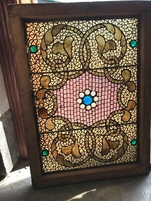 Sg 2062 Antique Jeweled Mosaic Stainglass Window 25 X 34