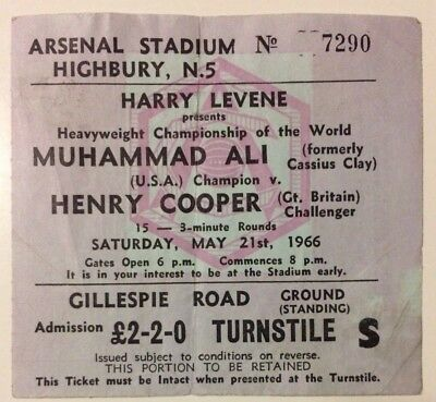 1966 Vintage Muhammad Ali vs Henry Cooper World Title Boxing Ticket Stub