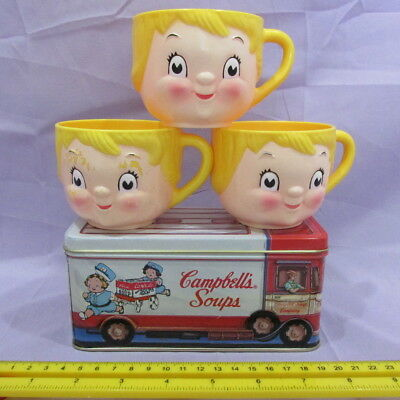Vintage Campbell's Soup Lot-Plastic Dolly Dingle Cups/Mugs & 1992 Soup Truck Tin